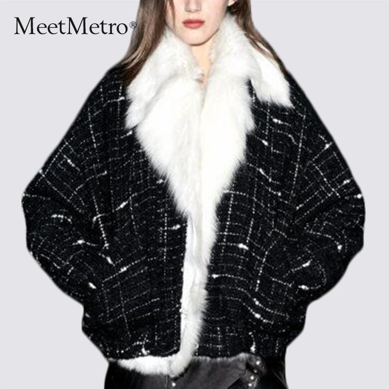 皮毛一体皮草外套女短款冬2017新款时尚大毛领呢子大衣