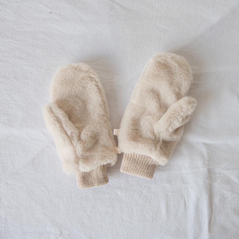 小物商店 去年热卖!双层加绒保暖兔绒毛北极绒加厚连指手套 包邮