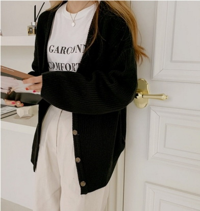 Spring 21, January, new otheriver South Korea to buy simple basic V-neck loose knit cardigan (0122)