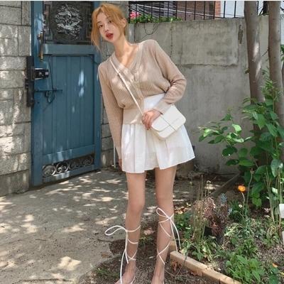 20秋8月新款mocobling韩国代购混色花纹V领针织背心(0617)