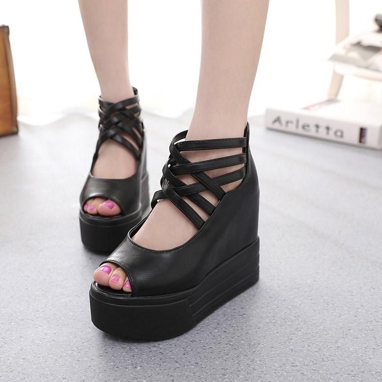 矮mm专用款恨天高厚底坡跟内增高10cm超高跟夜店松糕跟女鞋凉鞋