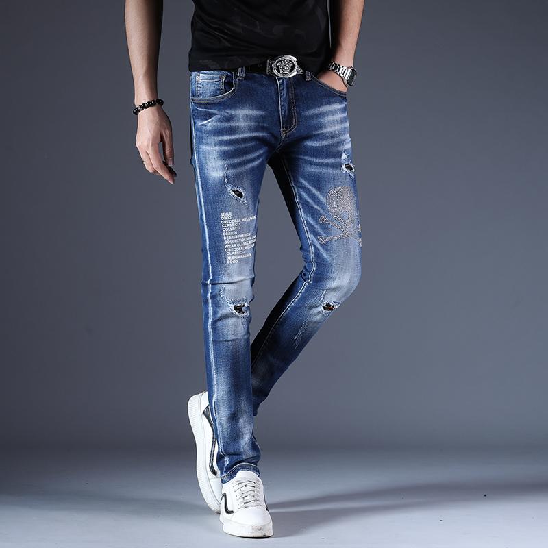 Summer dark blue versatile print worn hot diamond slim fit pants Japanese and Korean fashion brand European jeans pants