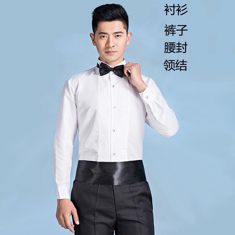演出合唱年会主持燕尾礼服套装新郎结婚伴郎团男士衬衫长袖白衬衣