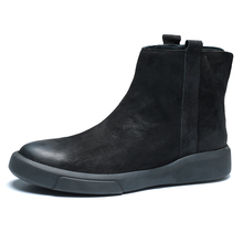 Martin boots, men's middle leather, Chelsea boots, high leather shoes, men's retro casual shoes, autumn and winter 2018 new style