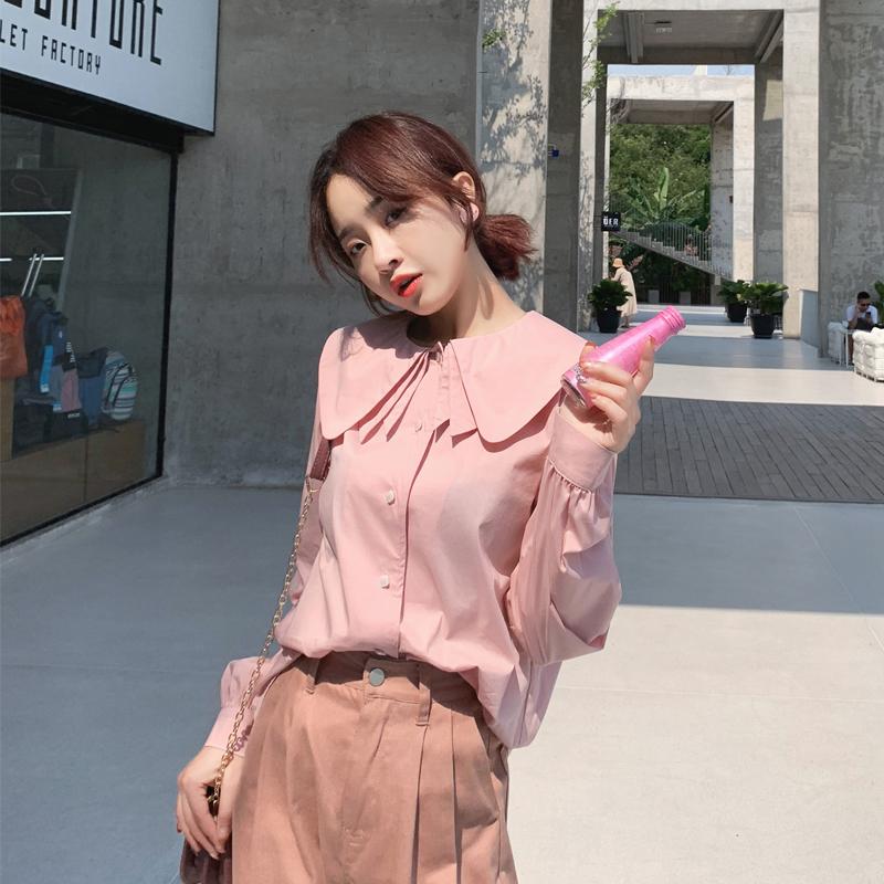 谜秀可爱衬衫女2019春装新款韩版宽松甜美小清新娃娃款衬衣上衣潮