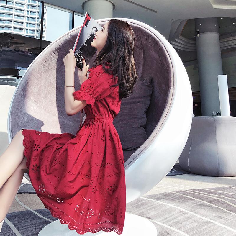 温柔连衣裙女夏2018新款冷淡风超仙中长款收腰pphome裙子极简夏装