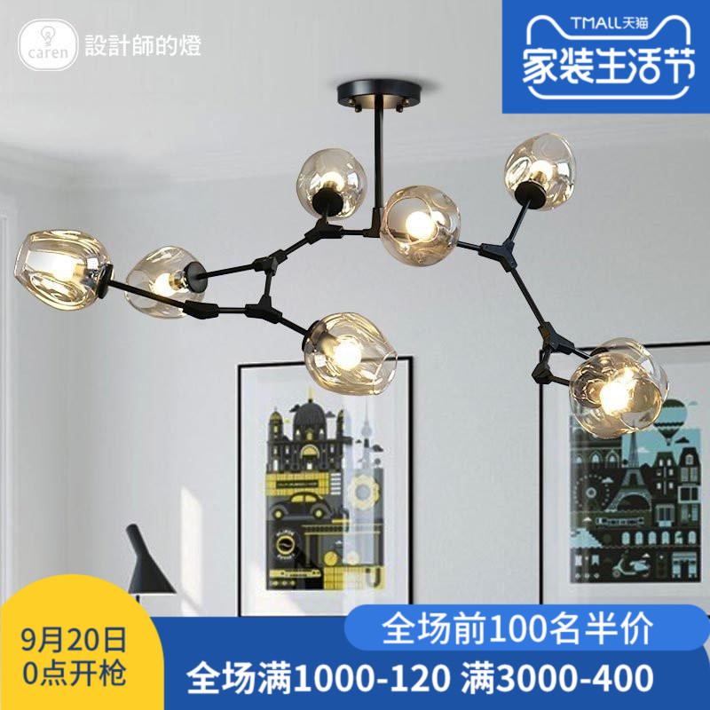 设计师的灯 美式卧室书房北欧简约客厅莫道灯LED铁艺玻璃泡吊灯-北欧时光创意灯饰