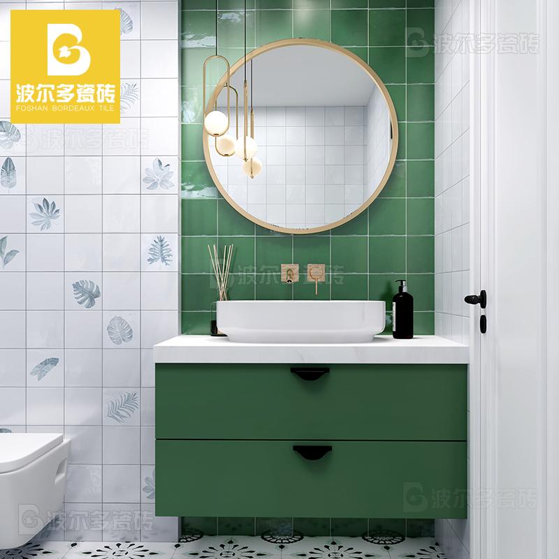 北欧卫生间瓷砖厨房墙砖粉色小方砖釉面砖浴室墨绿窑变手工砖150