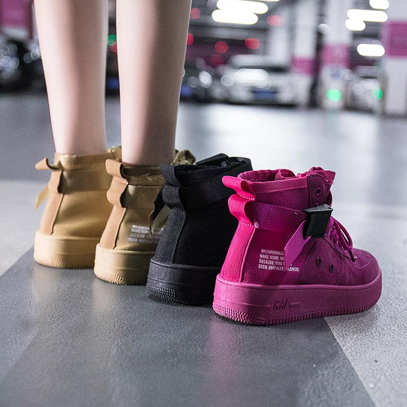 高帮鞋女2018新款韩版嘻哈秋季空军一号女鞋子学生百搭休闲帆布鞋