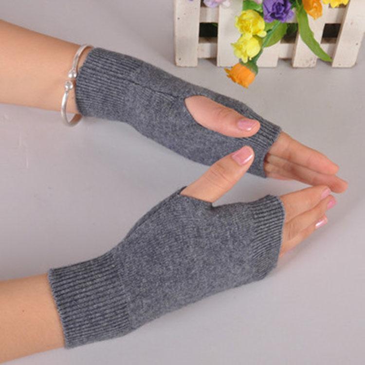 秋冬新品时尚羊绒短手套半截露指羊毛线手套保暖护手护腕触屏男女