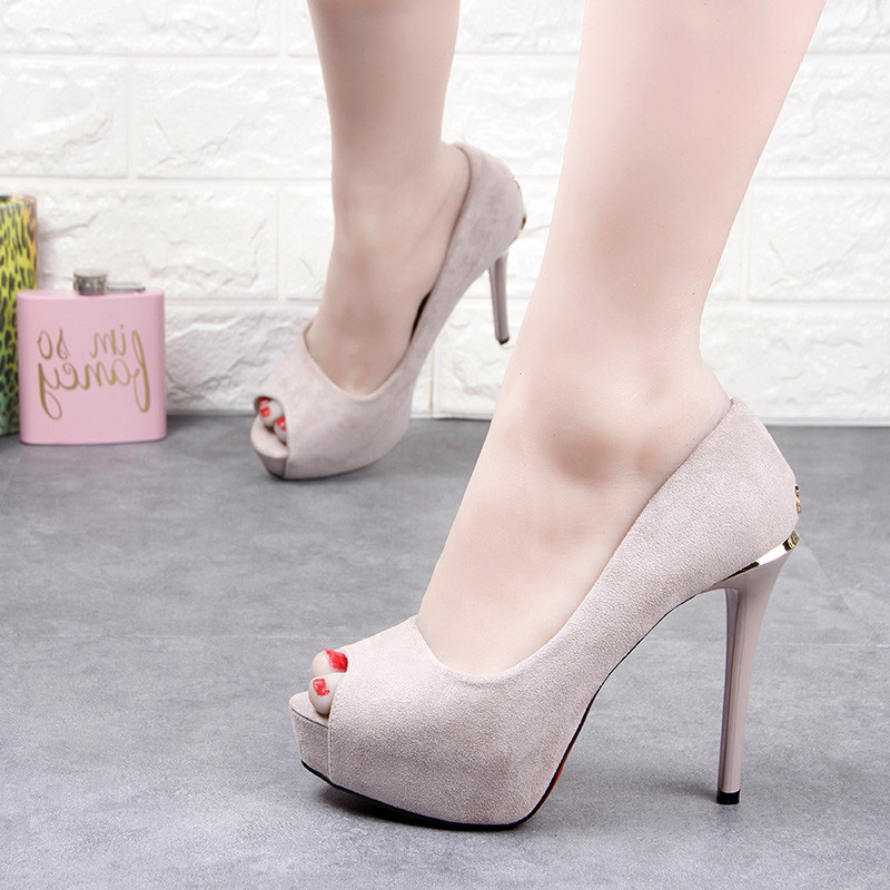 Suede fish mouth shoes womens slim heel 12cm super high heel waterproof platform comfortable high heel shoes versatile shallow mouth professional work shoes