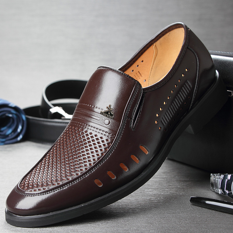 Breathable Brown summer mens sandals dad laceless hollow mens shoes summer mesh leather casual shoes