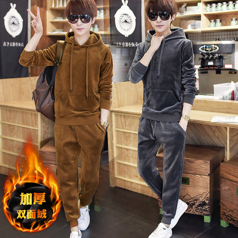 Hooded suit mens and womens same lovers wear leisure sports two piece set solid golden velvet sweater autumn and winter mens wear