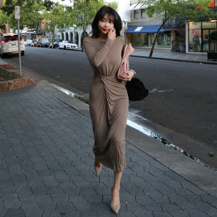 熱賣 性感高腰褶皺長袖 連衣長裙女裝 韓國2019秋天新品 大愛咖范