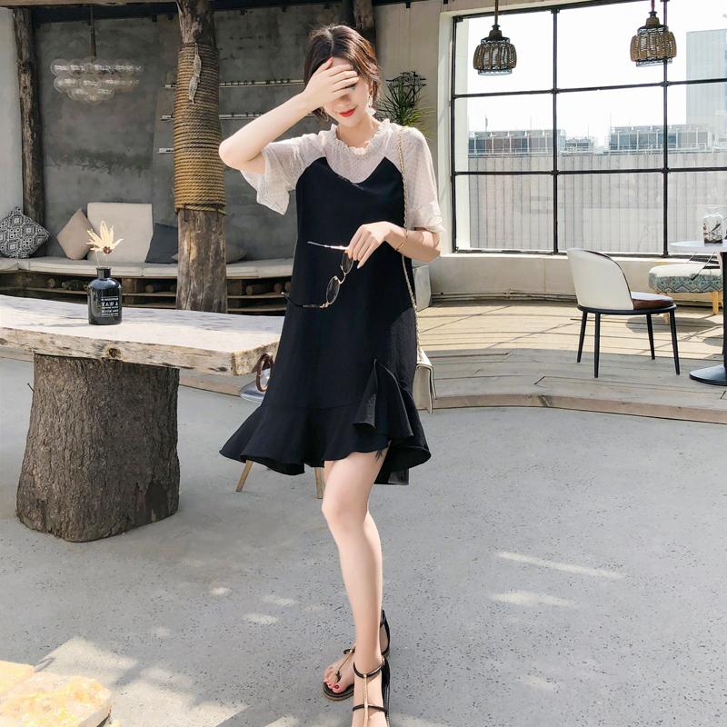 2019新款波点雪纺拼接黑色鱼尾连衣裙女OL气质优雅赫本小黑裙