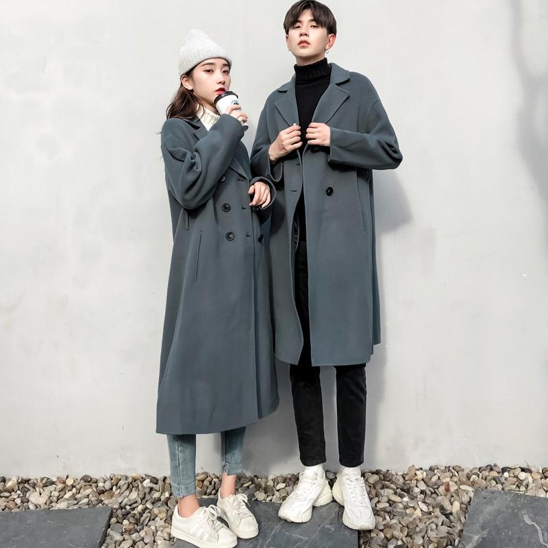 新款中长款风衣男毛呢子大衣韩版外套小众设计感2019情侣装秋冬季