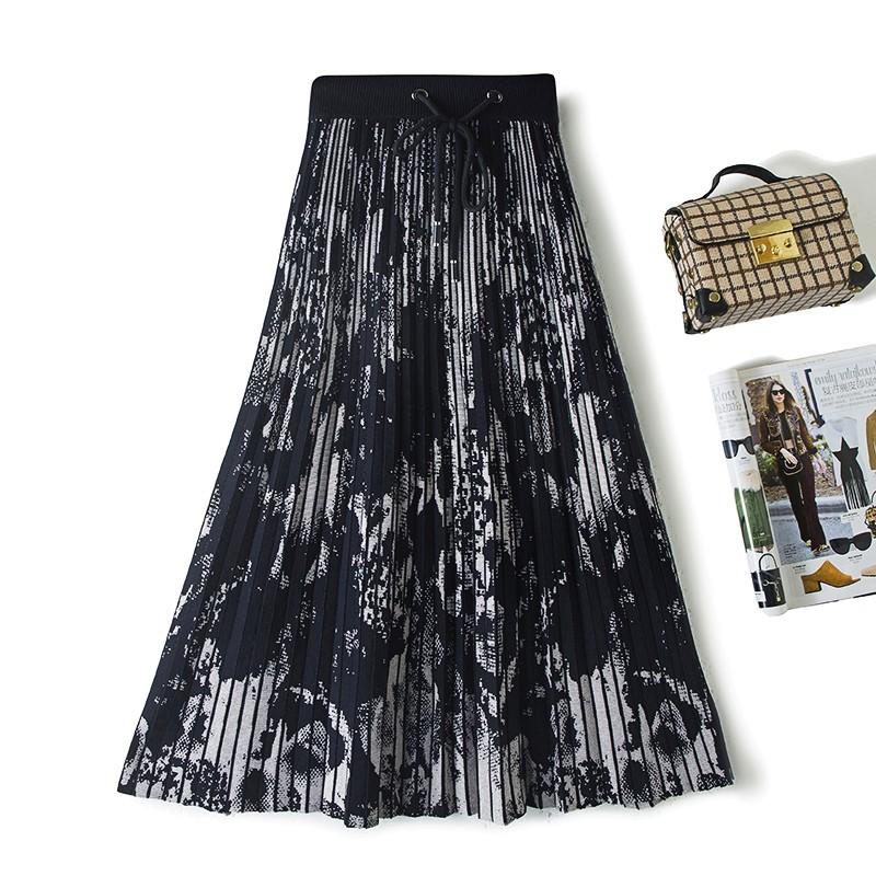 (用30元券)秋冬中长款高腰A字针织半身裙水墨印花伞裙长裙百搭显瘦百褶裙
