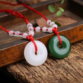 白玛瑙平安扣吊坠白玉挂件项链玉佩玉器玉石玉饰男女款送亲友图片