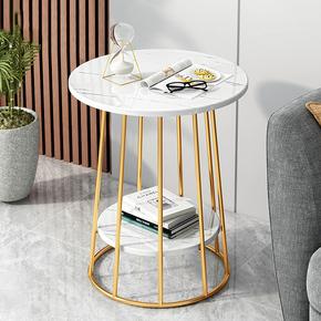 北欧铁艺茶几创意客厅家用小户型小桌子阳台咖啡桌大理石纹小圆桌