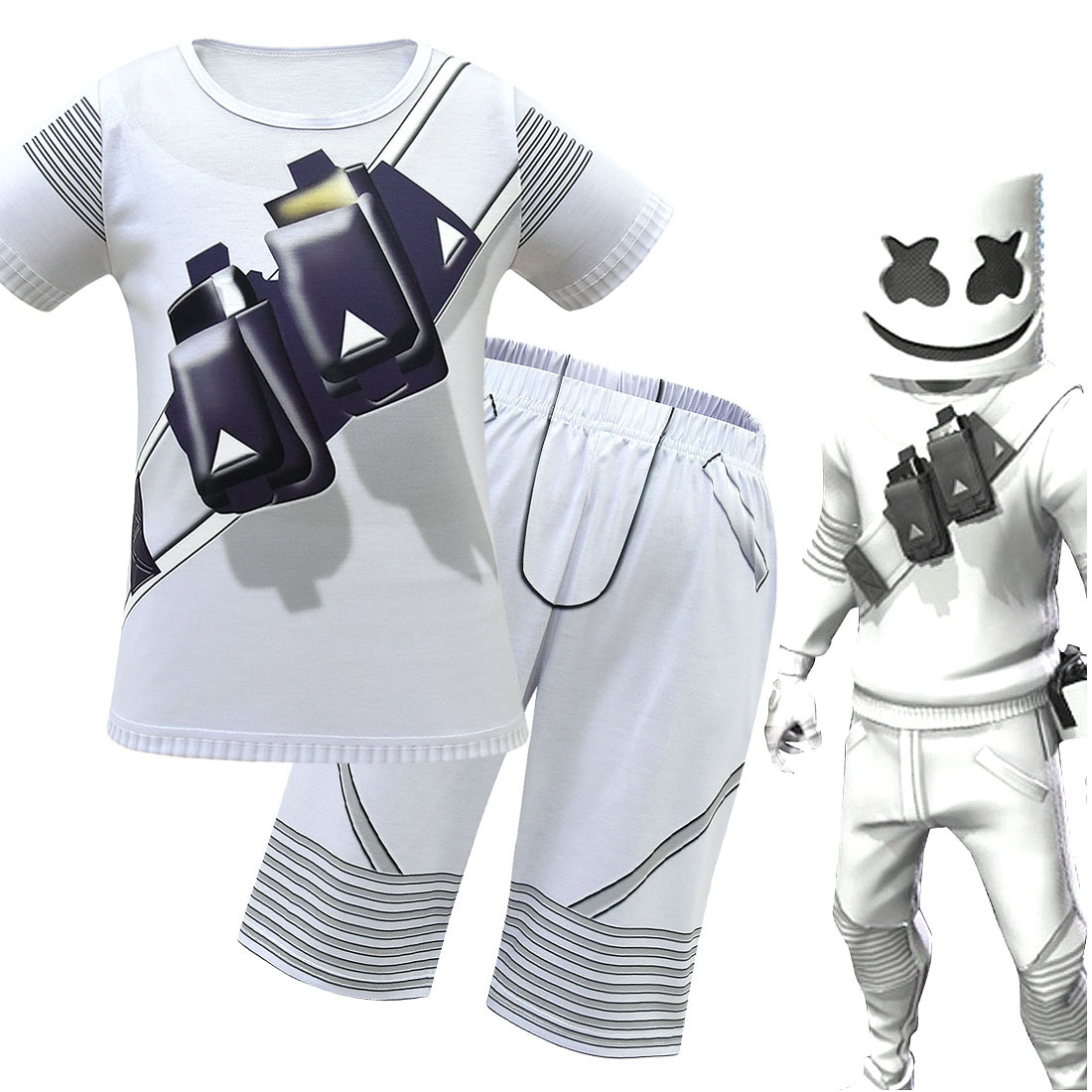 Summer fortress night DJ electric voice cotton candy clothes marshmello rock sports ball suit childrens suit