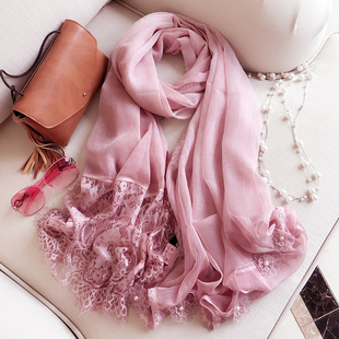 St. Ascott pedicle Korean female lace stitching solid color scarves scarves sunscreen shawl long section of dual female chiffon scarves