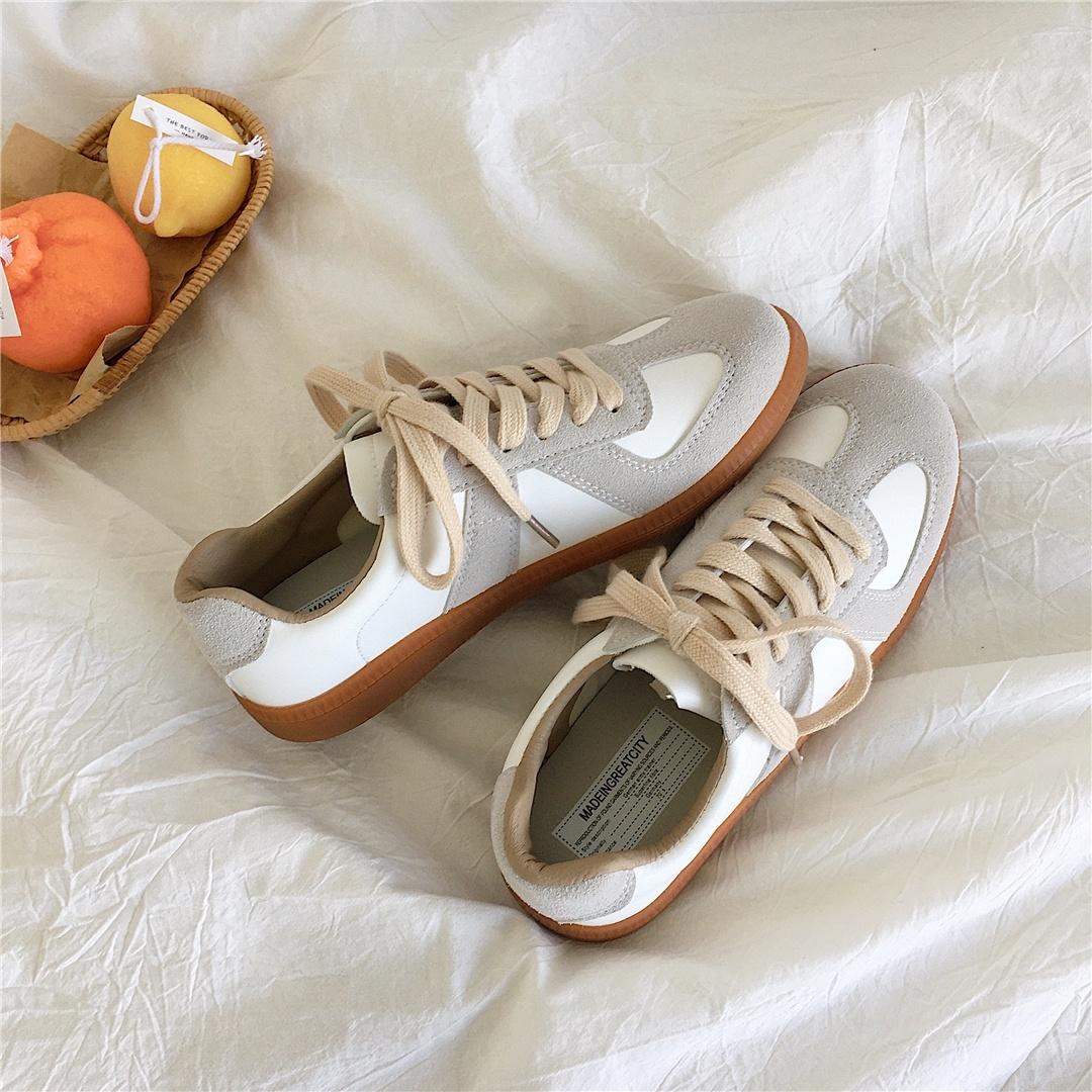 运动女板鞋透气软底女款低帮轻便简约拼色四季简单小巧版型复古风