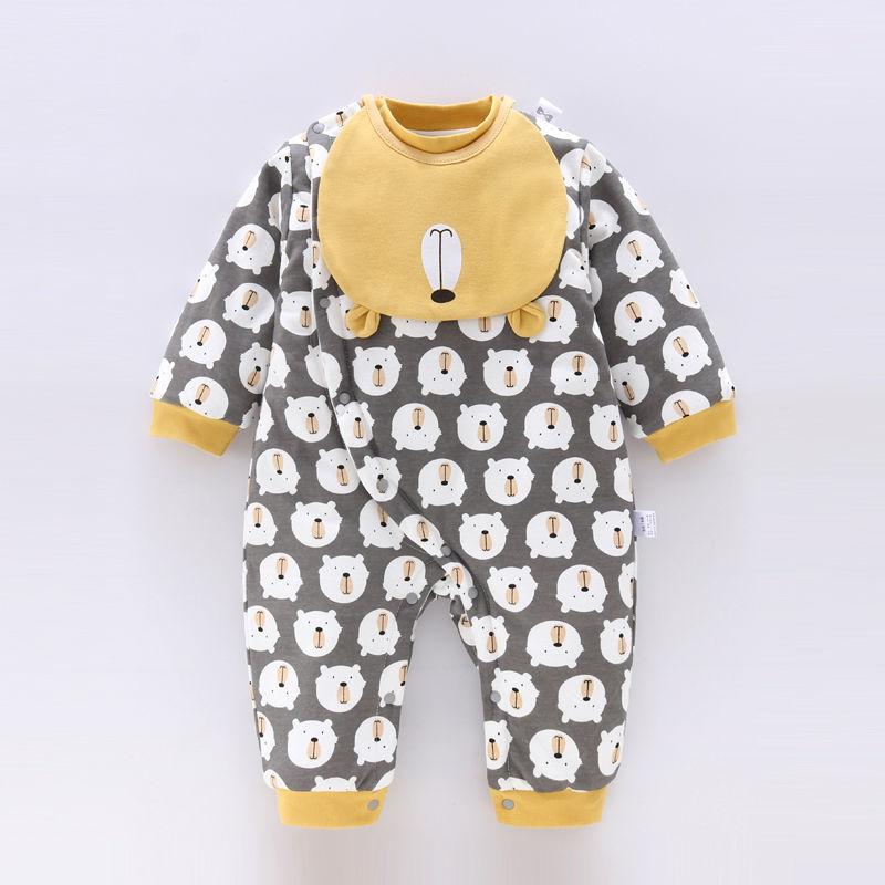 (用1元券)婴儿加棉连体衣男女童宝宝秋冬保暖爬服哈衣幼儿外穿薄棉秋季衣