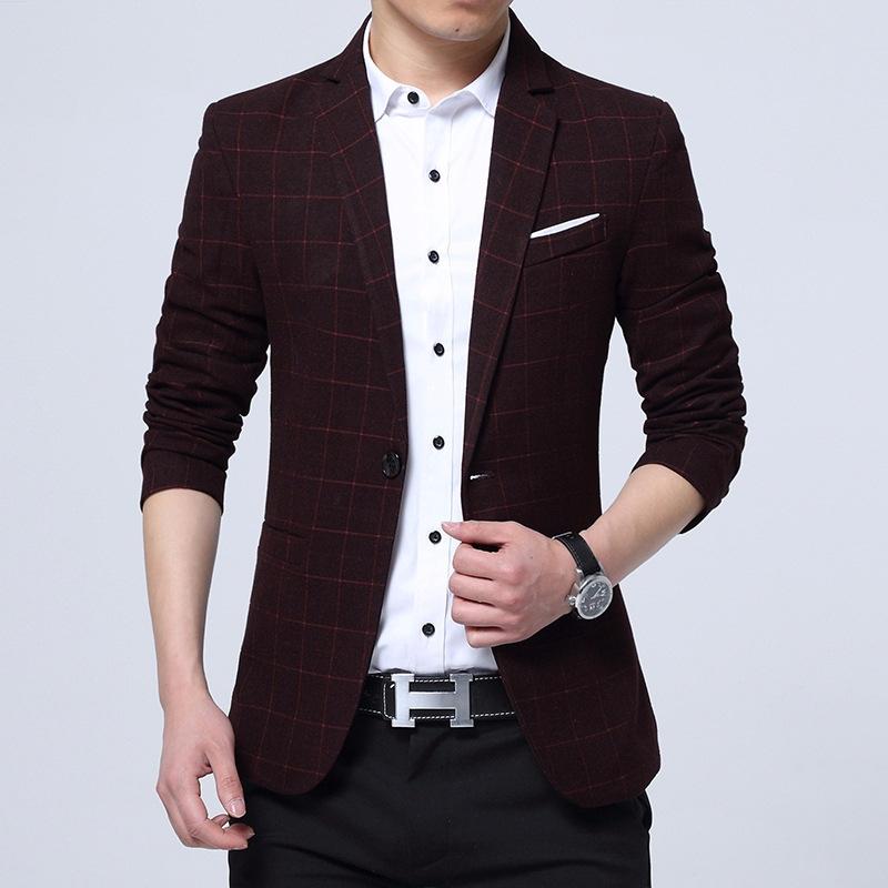 英伦男士修身长袖外套西服韩版休闲小西装单排扣夜店发型师穿帅气