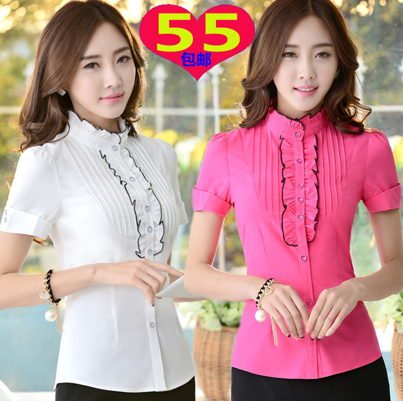 Vertical collar shirt Korean professional womens high collar shirt slim vertical collar short sleeve Auricularia auricula lotus collar