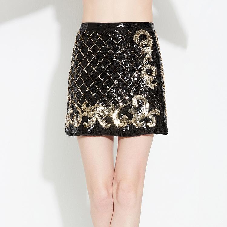 Dance party host light luxury elegant double-sided plaid skirt sparkle Sequin heavy industry womens Hip Wrap Skirt
