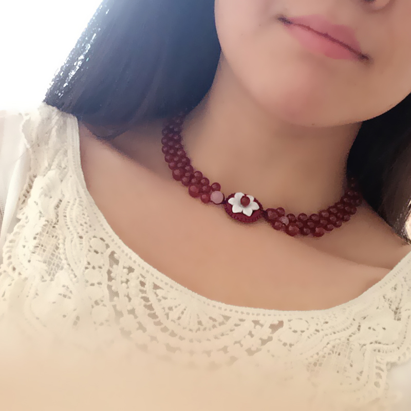 HLS original jewelry retro national style short necklace agate neck chain multi layer scar Necklace accessories