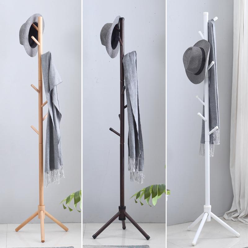 限2000张券挂衣架衣帽架落地卧室衣服架子简易家用简约现代实木单杆式衣帽架