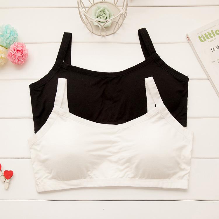 夏款莫代尔少女背心 棉质防走光抹胸透气带垫美背裹胸 运动内衣