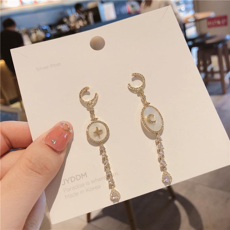 原创气质贝壳珍珠不对称耳环925银针镶嵌锆石耳钉网红气质耳饰女