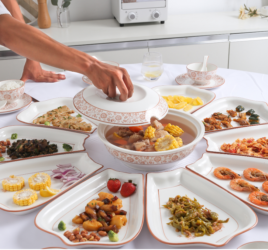 Tiktok assorted cold dishes with Chinese style sets round the table, round fan, creative family dish, dish set, and tableware.