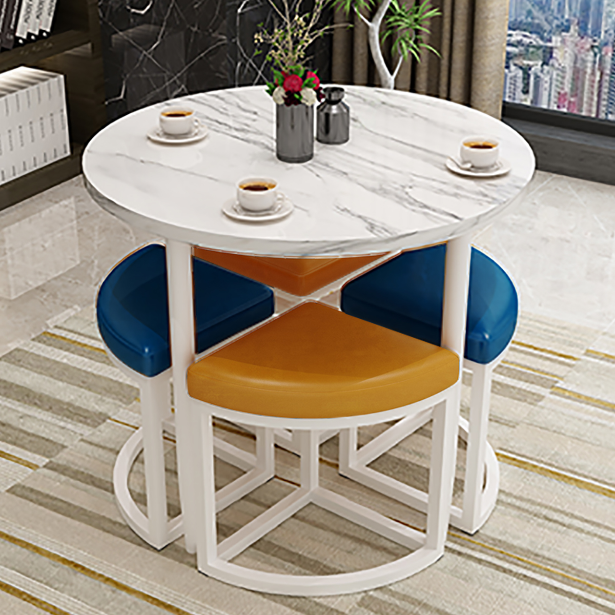 Reception and negotiation table and chair combination sales office one table and four chairs milk tea shop leisure reception reception small round table