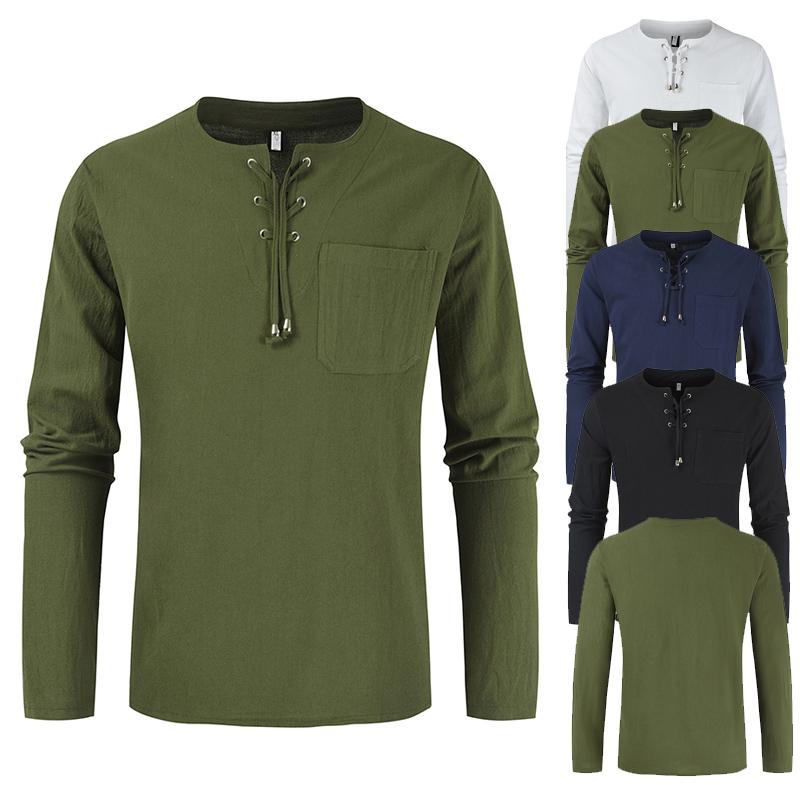 2021新款男士时尚潮流夏季系带棉麻休闲宽松长袖衬衣DL484-P35