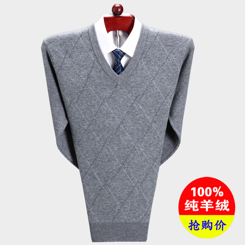 Erdos 100 pure cashmere sweater mens V-neck thickened chicken heart neck sweater dads sweater fattened and enlarged