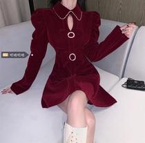大码女装秋冬蝴蝶结泡泡袖胖mm连衣裙女时尚新款圣诞红色a字短裙