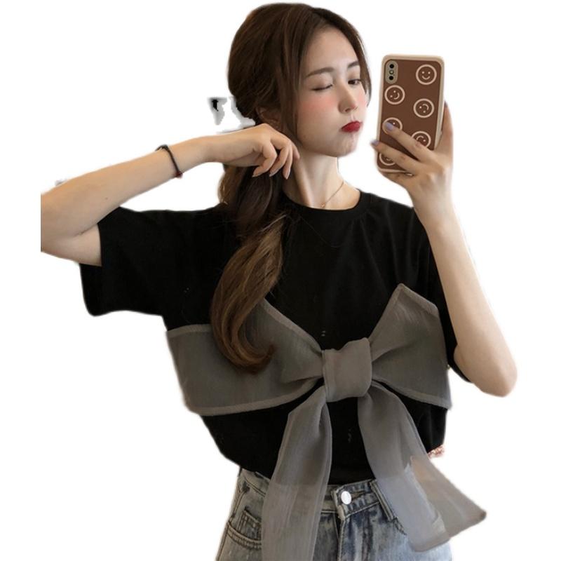 大码2021夏季新款女装胖妹妹蝴蝶结减龄上衣女设计感小众短袖T恤