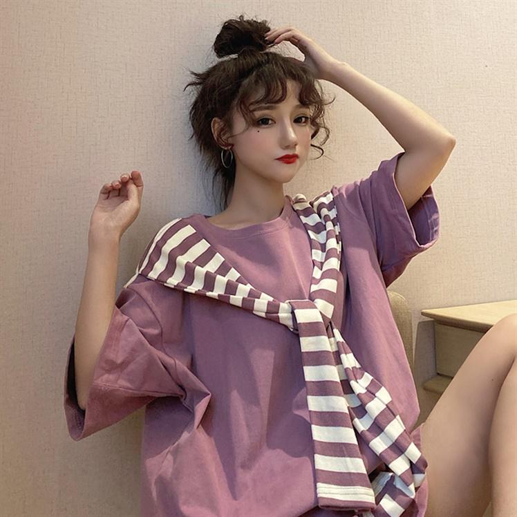 大码假两件洋气披肩式上衣女减龄韩版t恤女胖MM短袖宽松遮肚体恤