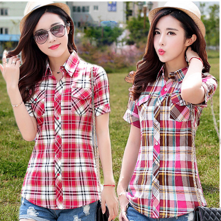 2020 summer new Korean cotton plaid short sleeve shirt womens thin top slim and versatile summer students