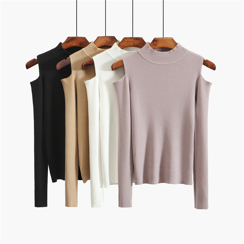 Autumn half high necked Off Shoulder Top Black underlayer womens thin stretch slim fit leaky shoulder sweater long sleeve T-shirt