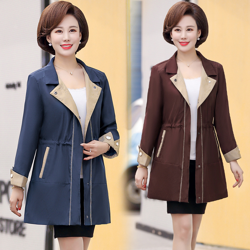 Spring womens two-color suit Lapel windbreaker young and middle-aged mother waist coat professional coat travel width increase fat increase