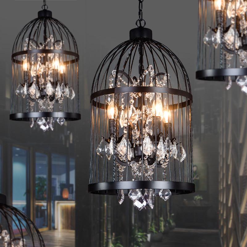 工业风铁艺水晶鸟笼吊灯复古美式服装店咖啡厅理发店餐厅装饰灯具