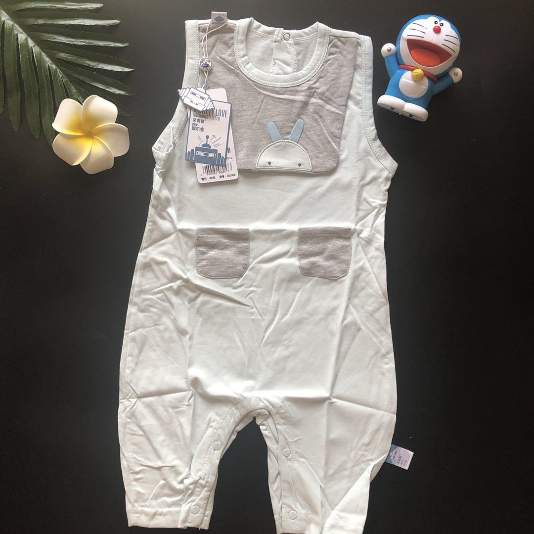 Zixiang childrens 2019 new boys sweats short sleeve closed Khaki Jumpsuit (too large) climbing suit sleeveless