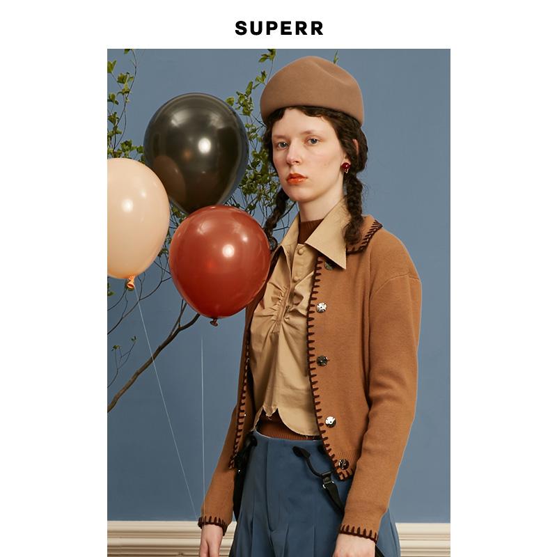 SUPERR vol.14 复古黑色棕色小翻领针织开衫