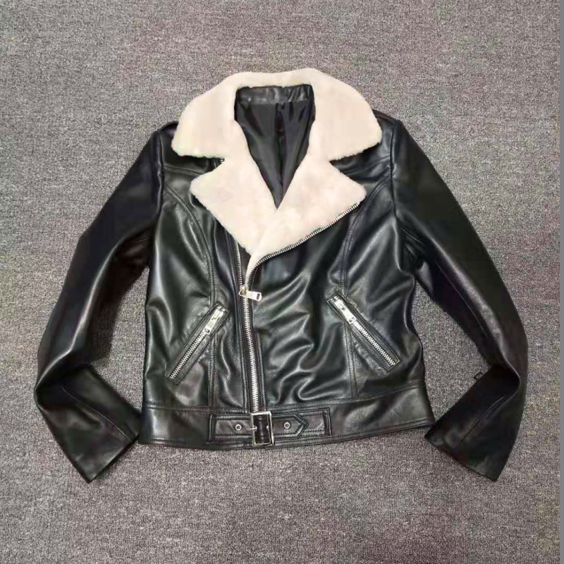 Tongerbao new winter leather coat short slim locomotive suit lamb wool sheep shearing plus cotton thickened jacket