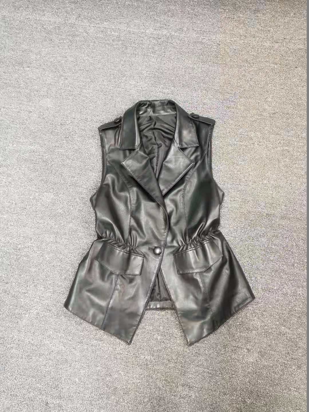 Tong Er Bao womens short leather jacket, spring and autumn show thin, Korean version, all kinds of waistcoat, waistcoat, leather vest, womens self-cultivation