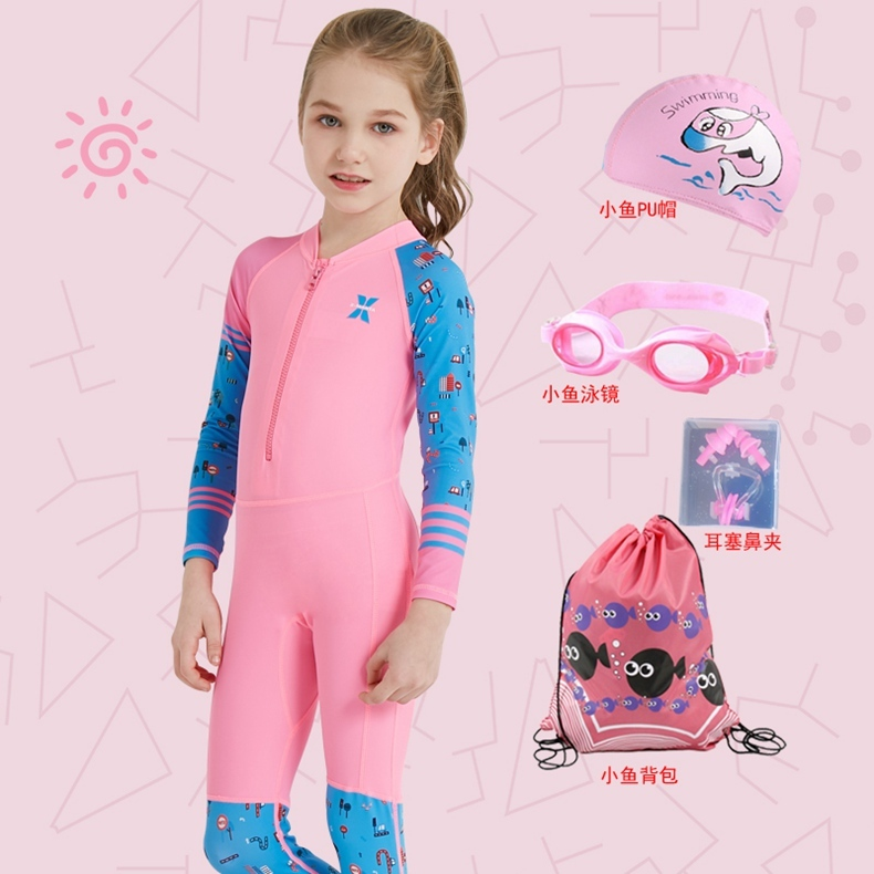 Childrens swimsuit girls middle and large childrens sunscreen trousers long sleeve one-piece mens swimsuit girls boys swimsuit girls